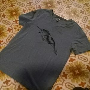 V neck narwhal small tee